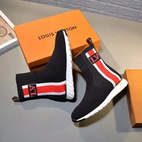 LV tide brand female models high quality high to help casual sets of foot elastic socks boots black