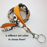 Lanyard  ID Badge Holder - Lobster clasp and key ring - design your own - black damask - gold pin dots - two toned double sided