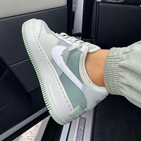 NIKE Air Force 1 Shadow Hot Sale Women Men Casual Sport Running Shoes Sneakers Grey&Green