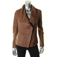Elie Tahari Womens Leather Contrast Trim Jacket