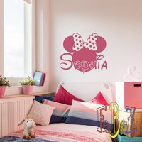 Personalized Girl Name Wall Decal Minnie Mouse Custom Vinyl Decals Cartoon Stickers Baby Kids Girls Room Bedroom Nursery Wall Art Decor M052