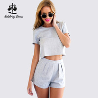 Summer Style 2015 Casual Mini Jumpsuits Crop Top Plus Piece Outfits Size Women Two Short Sleeve Gray Shorts Vestidos