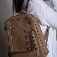 Lucky 21 Elegant Faux Leather Lightweight Backpack With Rivets - Khaki