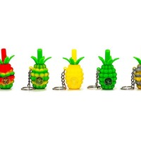 Mini Silicone Pineapple Keychain Pipe 3""