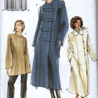Vogue Sewing Pattern Designer Style Coat Trench Raincoat Jacket Off Side Closure Mandarin Collar A-line Asymmetrical Opening Uncut Plus Size