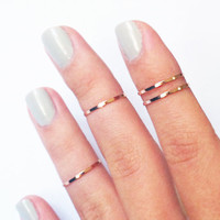 4 Above the Knuckle Rings  rose gold thin shiny bands  by galisfly