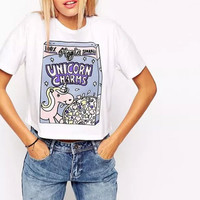 Women letters printing crop tops unicorn white short sleeve T shirt summer O-neck sequined tees casual short loose tops DT397