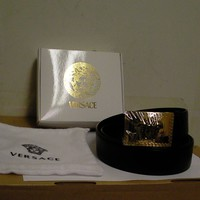 Versace leather black belt Medusa size 95 made in Italy new square buckle