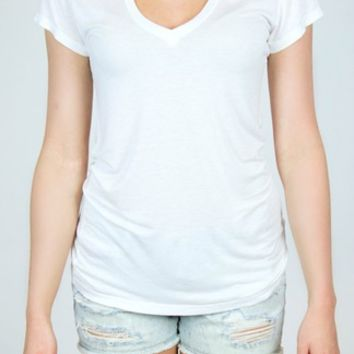 Able | Softy V-Neck Tee in White