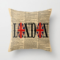 Throw Pillow Cover Dictionary Art Union Jack London on a Vintage Dictionary Page Home Décor by CARTISIM