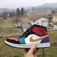 "AIR JORDAN 1 MID ""Multicolor"" mid-cut sneakers basketball shoes"