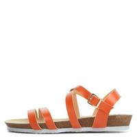 Orange Strappy Flat Sandals by Charlotte Russe