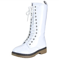 Womens Mid Calf Boots Lace Up Combat Casual Shoes White