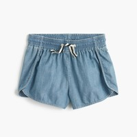 Girls' athletic chambray short