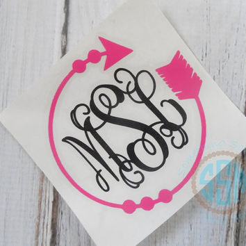 Arrow Frame Monogram Car Decal Vinyl Decal Monogram Car sticker Car Initials Vinyl Initials Vinyl Lettering