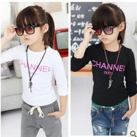 Free Shipping NEW 1PC/LOT Children Girl Summer Spring Autumn Clothing Baby Leisure Sport Long Sleeve T- Shirt Kids Tops Tees