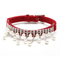 Fashion Luxury Female Pet Dog Collar Bling Rhinestone Pearl Necklace for Cats Crystal Wedding Jewelry Accessories for Small Dogs