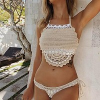 Handmade Crochet Bikinis Sexy Tassel Swimsuit Female Bathing Suit Shell Swimwear Women Bathers High Neck Biquini