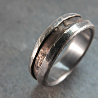 rugged bronze silver ring rustic silver bronze ring rustic wedding ring rustic engagement ring mens ring steampunk ring dark oxidized