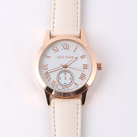 Classic Leather Band Watch - White/Rose Gold