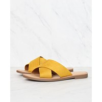 Coco Criss Cross Faux Suede Slip On Flat Sandals - Mustard