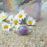 Ring, silver wire ring, silver ring,Amethyst ring, wire ring, wire wrapped ring, gemstone ring, bohemian ring, custom ring, healing jewelry