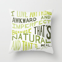 I Love Anything Awkward and Imperfect Because That's Natural and That's Real - Marc Jacobs Throw Pillow by One Curious Chip   Society6