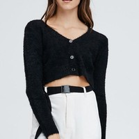 Fuzzy Baby Sweater Top in Black