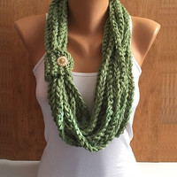 leaf green hand crochet chain Infinity scarf - necklace scarf gift or for you
