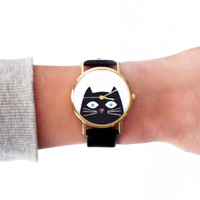 French Bulldog Womens Watch / Black Watch / What Watch / Vegan Leather Watch / Wrist Watch