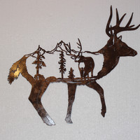 Deer Profile with Mountain and Buck Scene Metal Wall Art Country Rustic Home ...
