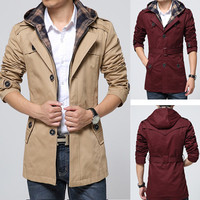 Modern Men Design Trench Coat with Attached Hood