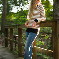 I'll Be There Sweater, Tan/Black