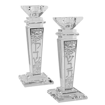 """Crystal And Silver Candlesticks 8""""H X 1.5""""W"""