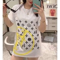 """""""LOUIS VUITTON"""" Woman Leisure Fashion Letter Personality Printing  Hedging Crew Neck Loose Short Sleeve Motion Tops"""