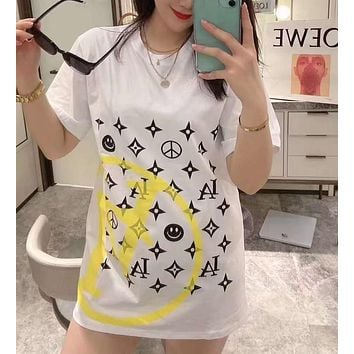 """LOUIS VUITTON"" Woman Leisure Fashion Letter Personality Printing  Hedging Crew Neck Loose Short Sleeve Motion Tops"