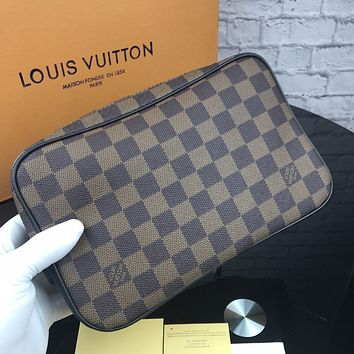 LV 2018 new men's high quality casual business wind canvas zipper hand clasp clutch Coffee check