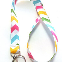 Pastel Chevron Stripe Fabric Lanyard, ID Badge,Cell Phone, Key Holder