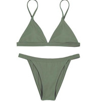 Simple cute fashion women pure color Army green two piece bikini 5 color