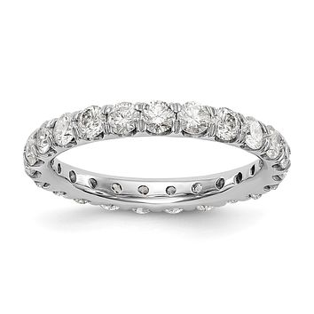3 ct Natural Diamond Wedding Ring Womens U-Prong Eternity Band 14k White Gold
