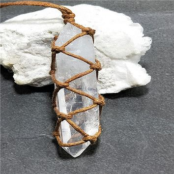 Natural White Quartz Crystal Pendant