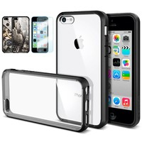 iPhone 5C Case, Spigen® [AIR CUSHION] [+Screen Shield] ULTRA HYBRID Series [Black] [1 Screen Protector + 2 Design Graphics Included] Clear Back Bumper Case for iPhone 5C - Black (SGP10555)