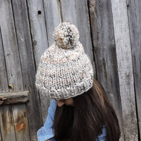 FREE SHIPPING Oatmeal knit hat Slouchy hat Beanie with pom pom Beige hand knitted hat Women's men's winter hat Ski hat Unisex bobble hat