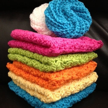Dish Cloths - Dish Rags - Pan Scrubbers - Crocheted Kitchen Set - Set of 5 Spring Colors Dish Cloths