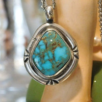 Turquoise Pendant Native American Navajo Pendant in Sterling Silver Southwestern Blue Brown Turquoise Vintage Jewelry Artisan Hand Crafted
