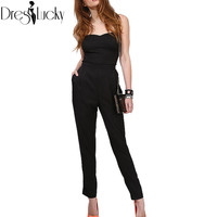 Fashion streetwear elegant jumpsuit 2016 summer sexy playsuit strapless black slim casual overalls for women romper clothes sale