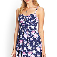 FOREVER 21 Cutout Floral Babydoll Dress Navy/Pink