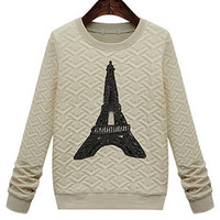 Eiffel Tower Printed Long-Sleeved Thin Cotton Casual Sweatshirt
