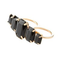 Black Two-Finger Ring with Gemstones by Charlotte Russe