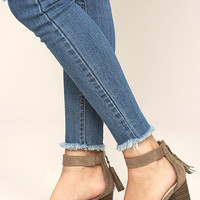Zoey Taupe Suede Ankle Strap Heels